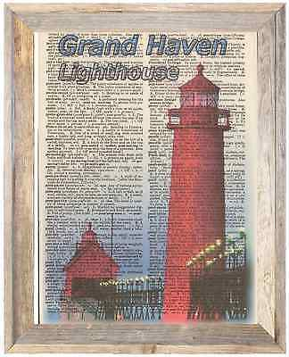 Grand Haven Lighthouse Michigan Altered Art Print Upcycled Vintage Dictionary