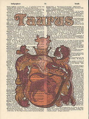 Zodiac Sign Taurus Astrology Altered Art Print Upcycled Vintage Dictionary Page