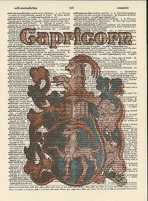 Zodiac Sign Capricorn Astrology Altered Art Print Upcycled Vintage Dictionary