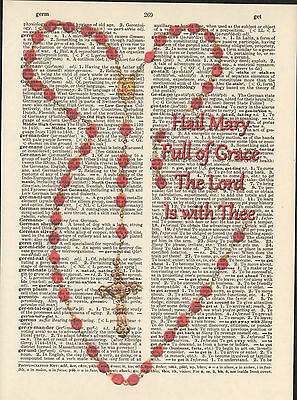 Rosary Beads Hail Mary Lord Altered Art Print Upcycled Vintage Dictionary Page