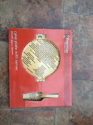 christmas cake plate and server new in box