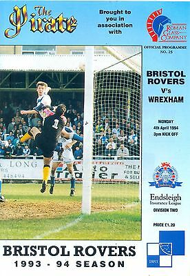 BRISTOL ROVERS v WREXHAM Division two 4 April 1994
