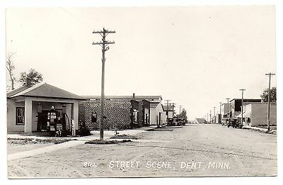 Dent,minnesota,otter Tail County,mobil Gas Station,gas Pumps,street Scene,rppc