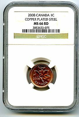 2008 Canada Cent Ngc Ms66 Rd Copper Plated Magnetic Steel High Grade Rare !!