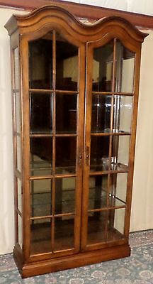 CENTURY CHERRY CURIO CABINET Glass Lighted Display Glass Shelves VINTAGE