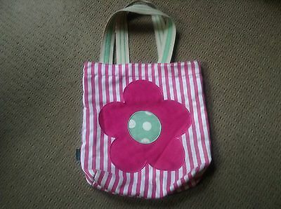 MINI BODEN girl's pink & white striped tote bag with flower So Cute!