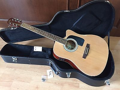 New Aria Awn-15Ce Acoustic-Electric Full Size Guitar With Hardshell Case