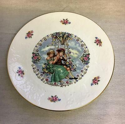 Royal Doulton Plate Valentine's Day 1980 Embossed Flowers & Hearts Edge UK