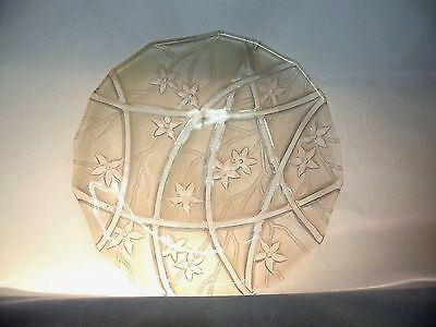 Vintage Frosted Glass Plate 6.25 Inch Rib & Floral Decor
