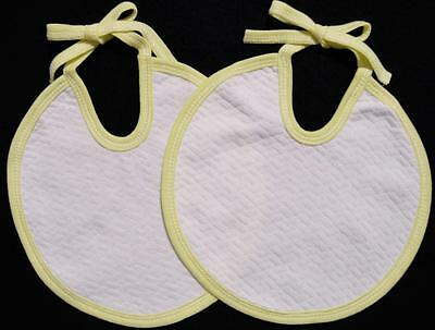 Set/2 White & Yellow 100% Cotton Quilted Infant Baby Bibs~Double Thickness~New