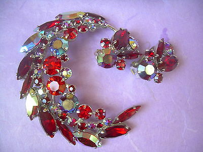Vintage Rhinestone Crystal Pin Earring Set Gorgeous Ruby Red Moon Crescent