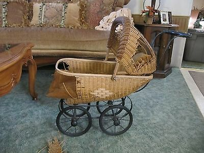 Antique F.A. Whitney Carriage Co.Wicker Baby Doll Buggy Damaged Leominstu, Mass.