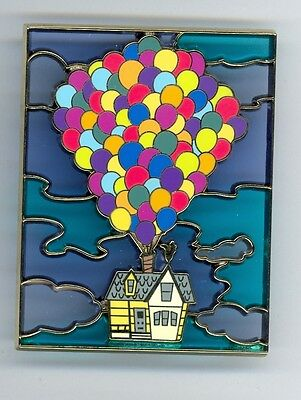 Disney Shopping Pixar Up! Carl Fredricksen's House Balloons Stained Glass LE Pin