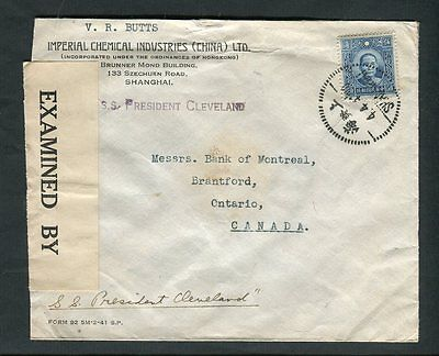 China 1941 Shanghai Cancel on Censor Cover to Canada per SS President Cleveland