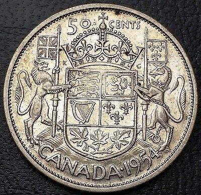 1954 Canada Silver 50 Cents Half dollar ***Good Date*** Free Combined S/H