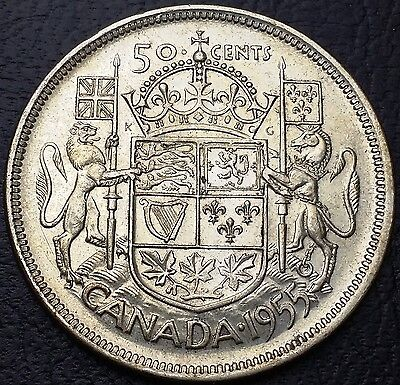 1955 Canada Silver 50 Cents Half dollar ***Good Date*** Free Combined Shipping