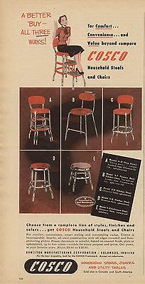 Original Vintage Mag Ad Cosco Household Stools, Chairs And Utility Tables