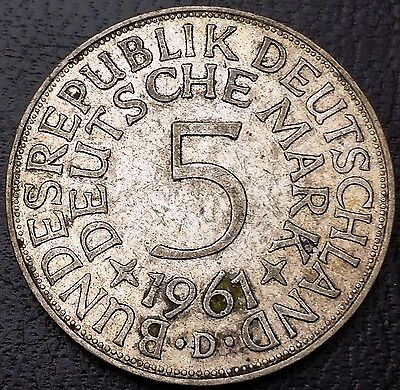 1961D Germany - Federal Republic 5 Mark 0.625 Silver Coin - KM# 112.1