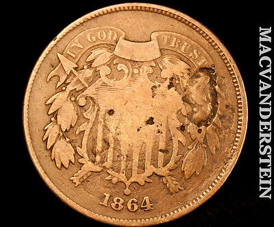 1864 Shield Two Cent- Scarce !! Better Date !! #o3534
