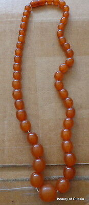 Antique Natural  butterscotch egg yolk Baltic Amber Round  Beads Necklace   41gr