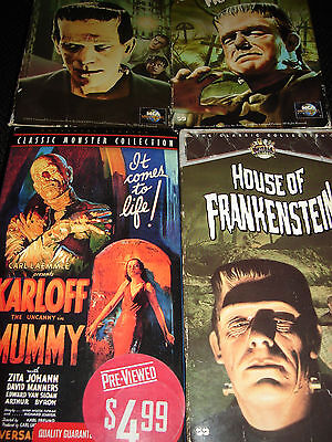 4 VHS Universal Monsters - Mummy - Frankenstein - Free Shipping