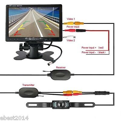 "7"" TFT LCD Car Rear View Wireless Backup Monitor Parking Night Vision Camera Kit"