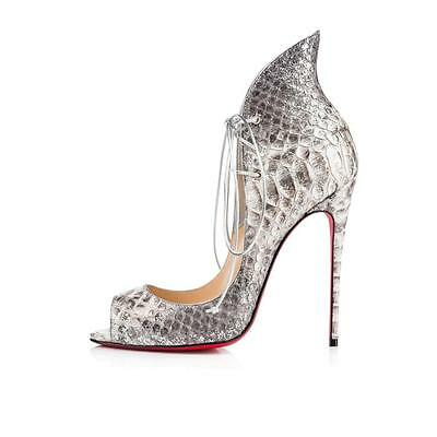 0acfe289ea3a Christian Louboutin MEGAVAMP 100 Python Lace Up Heels Pumps Shoes Silver   1545