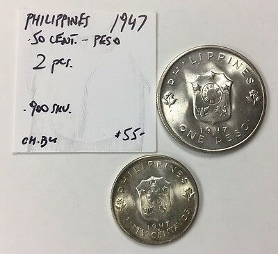 1947 Philippines 2-Coin Lot (Peso & 50 Cent) Choice B.u.!