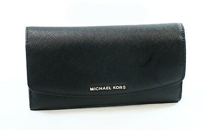 Michael Kors NEW Black Saffiano Leather Ava Large Trifold Clutch Wallet $148-#16