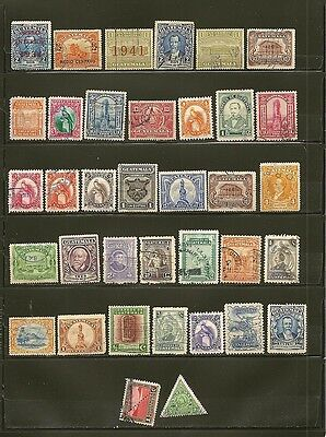 Guatemala 36 Old Used Stamps Many are Overprinted