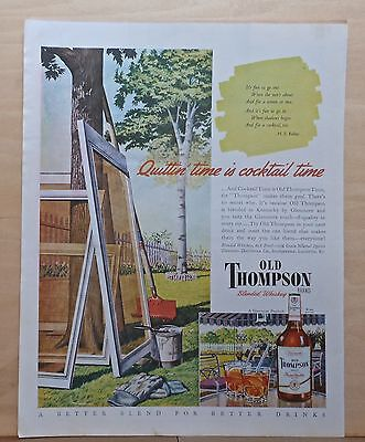1946 magazine ad for Old Thompson Blended Whiskey, Quittin' Time = Cocktail Time