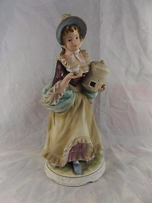 Vintage Seto Ceramics Japan Hand Painted Figurine ~ Lady with Bird & Cage