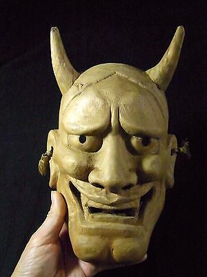 Japanese Vintage Wooden Carved Noh Mask Hannya Angry Oni Demon Wall Decor