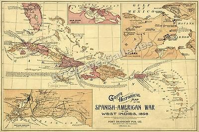 1898 Historic Map of the Spanish American War - 16x24