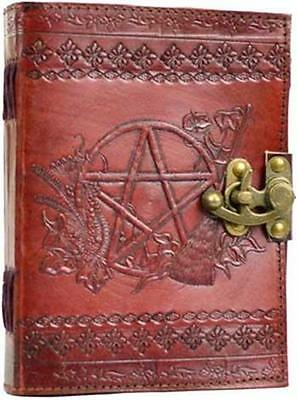 Leather Pentagram w/ Latch Book of Shadows Spells Journal Pentacle Wicca
