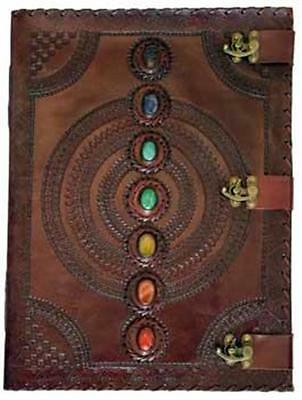 Leather Chakra Stones Book of Shadows Latch Reiki Journal Pentagram Wicca Celtic