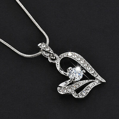 Heart Crystal Fashion Women Rhinestone Silver Chain Pendant Necklace Jewelry NEW