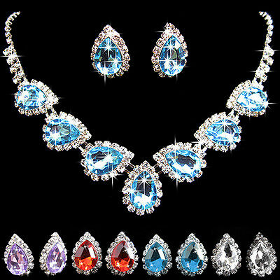 Wedding Bridal Crystal Rhinestone Waterdrop Necklace Earring Jewelry Set Novelty