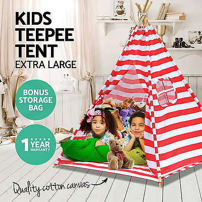 Kids Children Home Canvas Teepee Red Play Tent Playhouse Tipi Outdoor Indoor