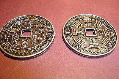 Chinese,Feng Shui,Metal Lucky Coins,~set of 2 large 35mm~uk seller~