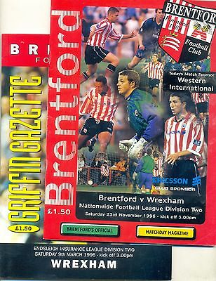 BRENTFORD v WREXHAM 2 Division Two programmes 9 March 1996 & 23 November 1996