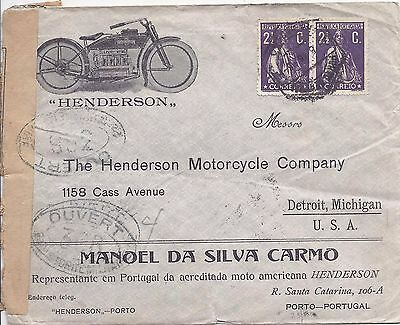Portugal 1816 illustrated Motorcycle company Ceres cover to USA