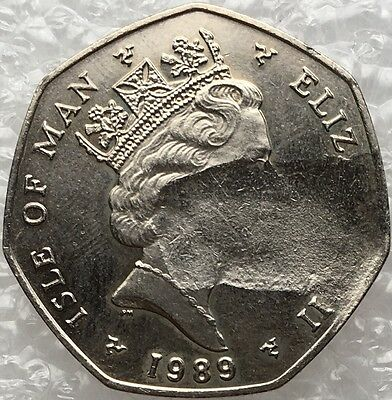 1989 Fifty Pence 50p Isle Of Man Christmas Coin Electronic Trolley Tram Error??