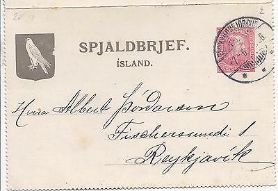 Iceland 1906 10a red stationery letter card used locally with message