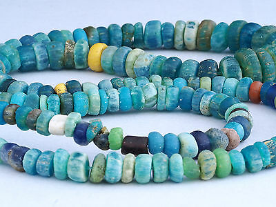 """Ancient NILA GLASS BEADS strand. 24"""". WEST AFRICA"""