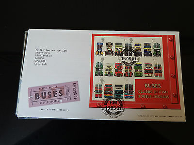 Qe2 Superb 2001  Buses Min Sheet  Fdc In Mint Condition
