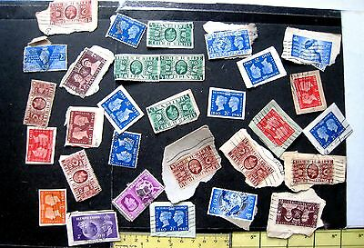 Gb Collection / Mixture Of Gv & Gvi Stamps On Paper. Unsorted Lot # 30