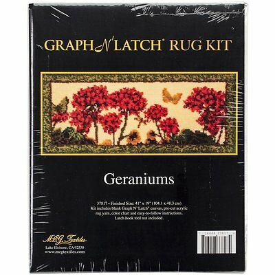 """Geraniums Latch Hook Kit Rug Making Kit 41x19""""  MCG Textiles No Tool Included"""