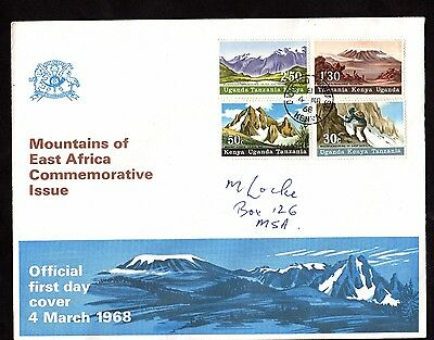 Stamps ~MOUNTAINS OF EAST AFRICA First Day Issue KENYA Uganda TANZANIA KUT~ 1968