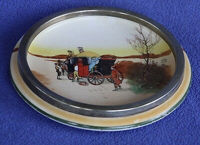 """Unusual Royal Doulton """"Coaching"""" Series Ware stand with plated rim"""